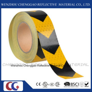 Yellow and Black PVC Hazard Warning Reflective Tape for Truck pictures & photos