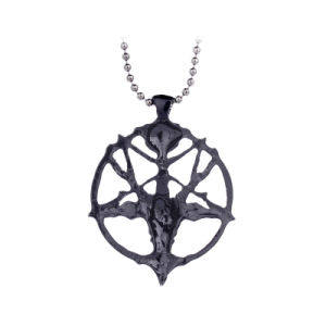 Black Satanic Goat′s Head Baphomet Pentagram Occult Pagan Satan Goth Pendant Necklace pictures & photos