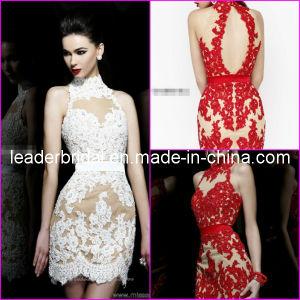 Choker neck short bridal wedding dress red white lace cream lining