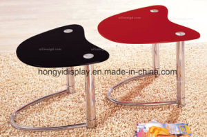 Simple Shape Glass Tea Table with Metal Leg pictures & photos