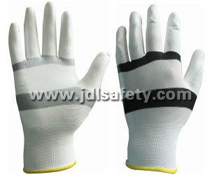 White/Black Nylon Work Glove with PU Palm Coated (PN8114) pictures & photos