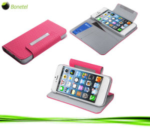 Wallet Mobile Phone Case with Kickstand for iPhone 5 (Pixel Hot Pink)
