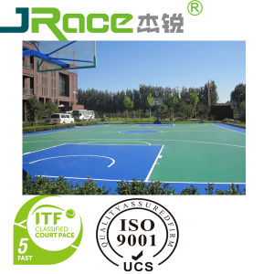 Shock-Absorption Rubber Tennis Court with Spu Coating Sport Surface pictures & photos