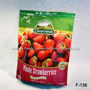 Printed Zipper Strawberry Packaging Bag with Zipper and Bottom Gusset pictures & photos
