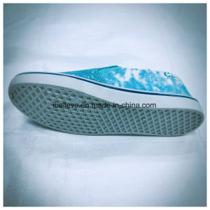 Slip on with Elastic Cord and Washed Denim Design Upper Blue Color Shoes pictures & photos