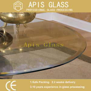 ANSI Z297 Tinted Circle / Round Chamfered Beveled Edge Individually Carton Packaged Tabletop Tempered Glass pictures & photos