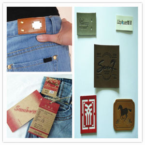 Durable Embossing Leather Labels for Jeans pictures & photos