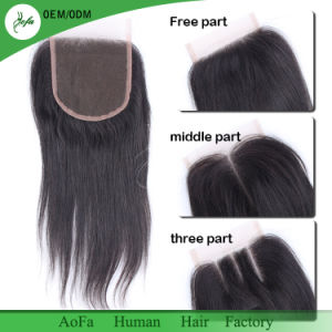 Virgin Hair Lace Closure 4X4 Free/Middle/Three Part Top Swiss Lace Closure Straight pictures & photos