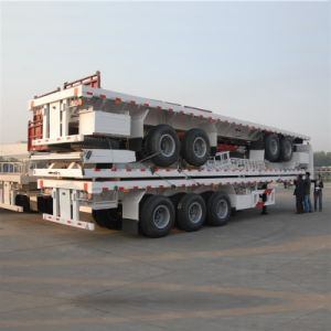 3 Axle Flatbed Semi Trailer /40ft Container Trailer for Sale pictures & photos