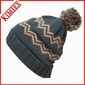 High Quality Jacquard Stripes Knitted Beanie Hat pictures & photos