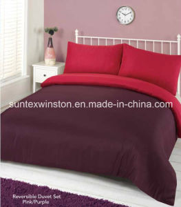 100% Polyester Dyed Reversible Duvet Cover Set pictures & photos