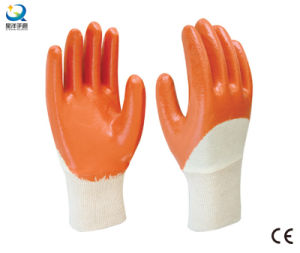 Cotton Jersey Shell Orange Nitrile Half Coated Safety Work Gloves (N6038) pictures & photos