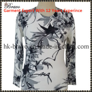 Mama′s Round Neck Long Sleeve Knitted Printing Sweater (A6513)