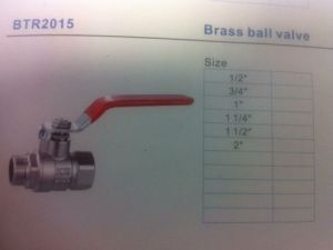 "Male-Female Full Brass Ball Valve with Steel Lever Handle (1/2"")"