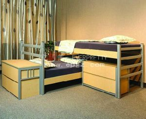 Sf-14r-Student Dormitory Iron Bunk Bed with Study Table Wordrobe and Stairs pictures & photos