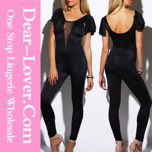 Black Mesh Inset Flutter Sleeve Backless Party Catsuit pictures & photos