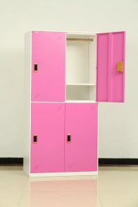 Factory Sale 4 Door Metal Storage Wardrobe Locker with Shelf and Cloth Bar pictures & photos