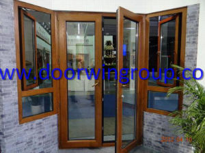 Solid Teak/Oak/Larch/Pine Timber Aluminum French Door, American Style Solid Wood Aluminium French Door pictures & photos