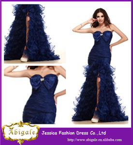 2014 New Arrival Navy Blue Sexy Evening Dresses with Long Train