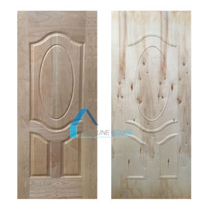 Decorative Solid Wooden Door Skin with Engineered Ash Veneer pictures & photos