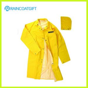 PVC Polyester Safety Men′s Long Raincoat Rvc-055A pictures & photos