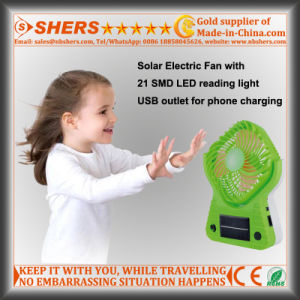 Solar Fan with 21 SMD LED Reading Light, USB Outlet pictures & photos