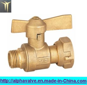 Brass Water Meter Lead Valve with Butterfly Handle (a. 0121)