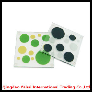 4mm Square Tempered Glass Coaster with Decal Pattern pictures & photos