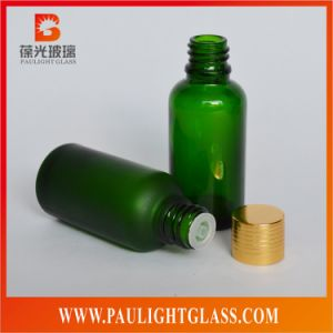 Frosted Green Essential Oil Glass Bottle with Stopper and Cap