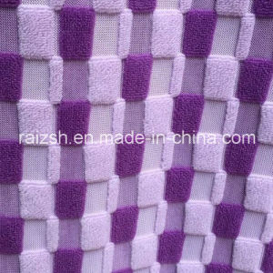 Weft Grid Cation Jacquard PV Fleece Fabric for Sofa / Slippers pictures & photos