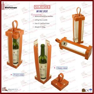 Fashion Design Portable Leather Wine Carrier (5749R1) pictures & photos