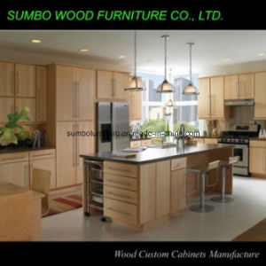 Flat Door Natural Color Solid Wood Kitchen Cabinet (SBK-015)