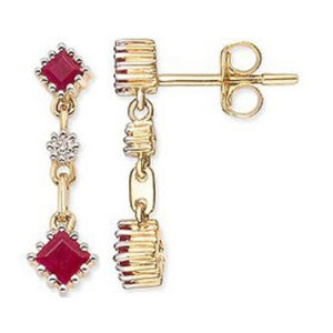 Fashion Dangle 925 Sterling Silver Ruby Stone Earring