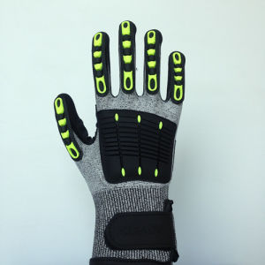 Nitrile Coated Hppe/Lycra Gloves, with TPR&Sponge&Self-Sticker