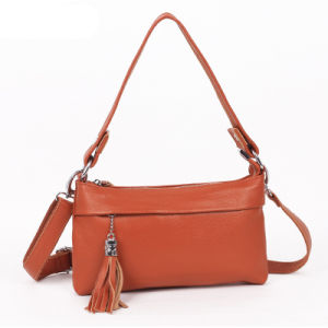 Fashion Cheap Genuine PU Leather Long Handle Tassels Shoulder Bag (XD140059)