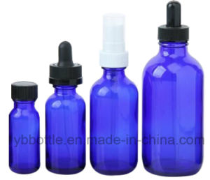 0.5oz/15ml, 1oz/30ml, 20z/60ml, 4oz/120ml Cobalt Blue Boston Round Glass Bottles
