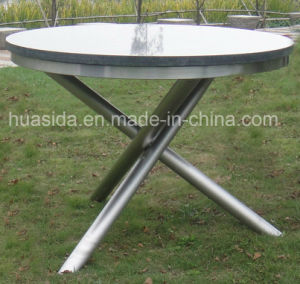 Rustless 304 Stainless Steel Garden Round Marble Table Set pictures & photos