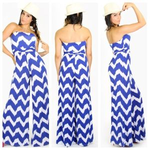 2014 Strapless Chevron Jumpsuit for Women (HSM4140)