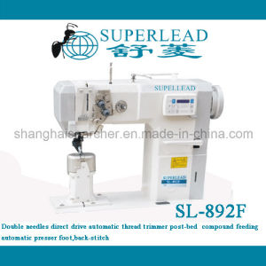 Double Needles New Pfaff Type Post Bed Compound Feed High Speed Direct Drive Automatic Thread Trimmer Bar-Tacking for Shoes Sewing Machinery (SL-892F)