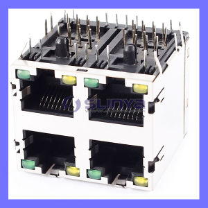 8p8c RJ45 Ethernet Connector 4port 2X2 Socket Shield 8-LED PCB Panel Mount Jack Network pictures & photos