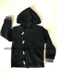 Black Double Polar Fleece Hoody Jacket for Boy with Button pictures & photos