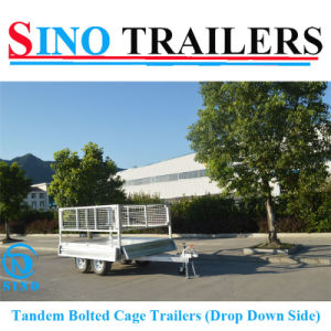 Tandem Drop Down Side Box Cage Trailers