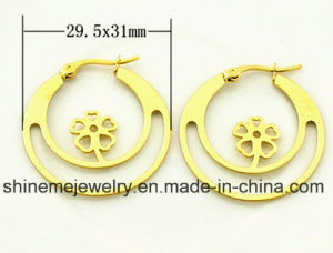 Shineme Jewelry High Quality Stainless Steel Plating Gold Earring (ERS6976) pictures & photos