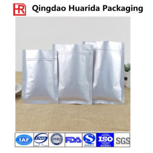 Three Side Seal Food Plain Aluminum Foil Bag with Zipper pictures & photos