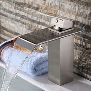 Single Handle Waterfall Bathroom Vanity Sink Faucet (Brushed Nickel)