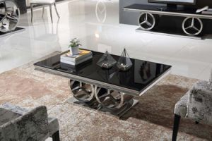 2017 Luxury Style Black Tempered Glass Stainless Steel Coffee Table pictures & photos