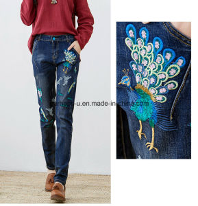 China Factory Custom High Quality Women Retro Jeans with Embroidery pictures & photos