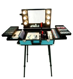 Professional Rolling Makeup Trolley Case Cosmetic Beauty Box Makeup Vanity Case on Wheels Permanent Makeup with Light pictures & photos