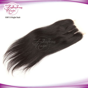 "Mongolian Hair Three Part 4""X 4"" Straight Human Hair Lace Closure pictures & photos"