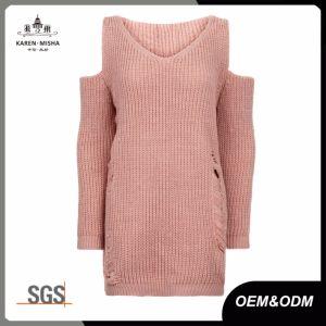 Blush Pink Ladies Cold Shoulder Ladder Knit Jumper Sweater pictures & photos